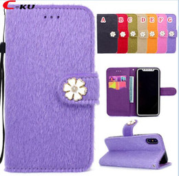 Discount purple phone covers - Fur Fuzzy Rabbit Hair Leather Wallet Case For Iphone X 8 7 6 6S Plus Fashion Stand Card Slot Diamond Bling Flower Bow Sk