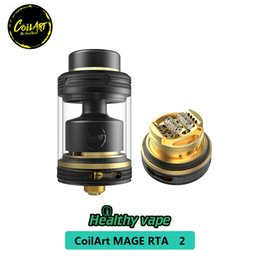 Chinese  Coil Art MAGE 2 RTA Tank Coilart Mega RTA 3.5ml Capacity 24mm Golden Plated stainless steel Decoration 100% Original manufacturers