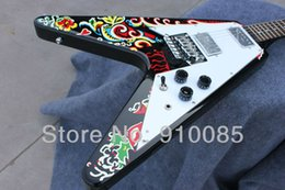 new flying v guitars Canada - New Arrival!!Jimi Hendrix Psychedelic 1967 Flying V Electric Guitar Free shipping