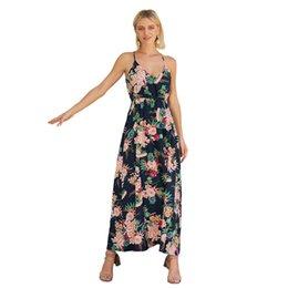 Womens Holiday Button Kleid Bohemian Sommer Strand lange Strap Sexy Maxi Swim Sun Kleid gedruckt Strand Rock im Angebot