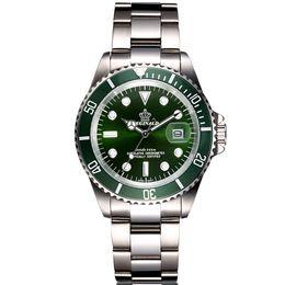 Full Steel Waterproof Diver Watch Men Quartz Movment Mens Watches Top  Wristwatch Green Male Clock relogio masculino