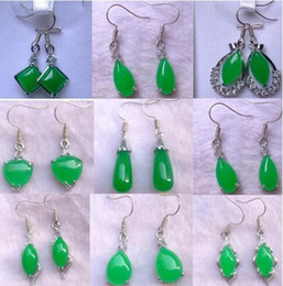 $enCountryForm.capitalKeyWord NZ - Tibet Silver Green Jade Malay jade pendant Dangle Necklace Girl Boy Chandelier Silver Earings Bridal Jewelry for wedding dress