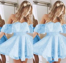 Iced apple online shopping - 2018 Vintage New Short Homecoming Prom Dress Lace Applique Beaded Fashion Ice Blue Off Shoulder Cocktail Party Gowns Custom Made