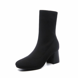 Chinese  Round head thick With short Boots Women's Tube Martin Boots ladies Wool Woven satin Black elastic Boots manufacturers