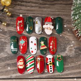 $enCountryForm.capitalKeyWord Australia - Nail Art Christmas Ornaments Santa Claus Gift Snowflake Christmas Tree Nail Sticker Diamond Metal Alloy Manicure Ornament