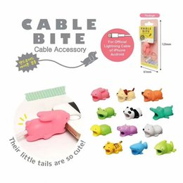 Discount doll cats - Cable Bite Protector for Iphone cable Winder Phone holder Accessory Organizer rabbit dog cat Animal doll model funny