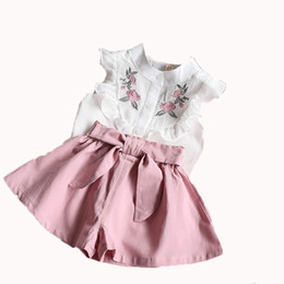 Winter skirt suits online shopping - New baby girls summer dress suits fashion tops pants flower embroidery skirts clothing sets outfits outwear
