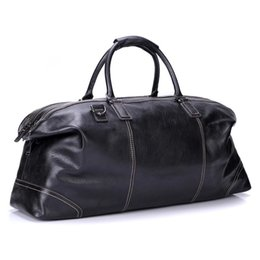"""genuine leather duffle bags 2019 - GraspDream 23"""" Foldable Full Grain Soft Genuine Leather Men Travel Bags Duffle Overnight Weekend Bag Luggage Bag To"""