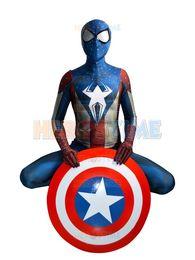 $enCountryForm.capitalKeyWord Australia - Captain America Spider-man costume Morph Suit movie Captain America cosplay costume male kids female can custom made