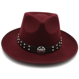 283f29f3701e6 Fashion Women Felt Fedora Hat with Wide Brim Wool Jazz Hat Sombrero Lady  Fascinators Trilby Steampunk Belt