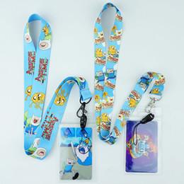 Cute Phone Chains Australia - Cartoon Finn and Jake Neck Strap Lanyards ID Card Gym Mobile Phone Strap Badge Holder Rope Key Chain Gift Cute