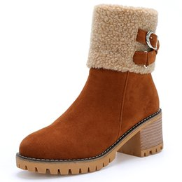 $enCountryForm.capitalKeyWord UK - Winter European style large size suede leather belt buckle and fleece boots with thick rib and side zipper for women short boots.T998