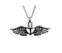 Chinese  Fashionable Jewelry Two-Tone Heart and Wing Locket Pendant Silver Color Steel Pendant Necklace manufacturers