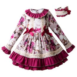 Full length party dresses online shopping - Pettigirl England Style Floral Autumn Flower Girl Dress Flare Sleeve Party Dress With Headband Children Pageant Clothing G DMGD103 B220
