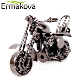 Wholesale ERMAKOVA cm quot Vintage Motorcycle Model Retro Motor Figurine Iron Motorbike Prop Handmade Boy Gift Kid Toy Home Office Decor