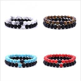 $enCountryForm.capitalKeyWord NZ - Natural Stone Beads bracelets for Lovers Couple Women Men bead Bracelet womens mens Jewelry Valentine's Day gift 2pcs set