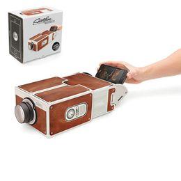 Mini Cinema Portátil DIY Cartão de Projeção Smartphone Projetor de telefone Móvel para Casa Projetor de Vídeo De Áudio Presente