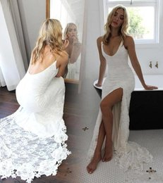 beach side dresses 2019 - New Cheap Sexy Beach Lace Mermaid Wedding Dresses 2018 Open Back Side Split Bohemian Bridal Party Gowns ba7520 cheap bea