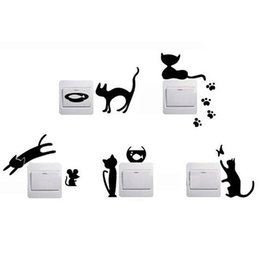 China hot sell 1 Set of 5 Black Cat Cartoon Home Switch Stickers Personalized Wall Stickers Decorated Socket DIY3D good quality supplier personalized wallpaper suppliers