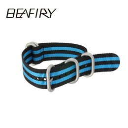buckle strap for watches 2019 - BEAFIRY Army Nato Sports Nylon WatchBand 18 20 22 mm Black silver Buckle Many Colors Available For Men Watch Strap disco