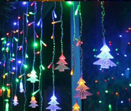 yellow stage curtains Canada - Christmas LED garland Curtains Icicle cord light 4M 100 LEDS Indoor drop LED evening garden garden Stage outdoor decorative ligh