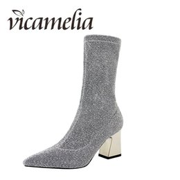 Wholesale Vicamelia Fashion Women Chnky Heel Boots Bling Sequin Cloth Pointed Toe Block High Heel Mid Calf Boots Ladies Shoes