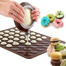 Discount macaron tools - Macaron Silicone pads 48 grid mat DIY Pastry Cake Macaron moulds tools Oven Baking Molds Sheet