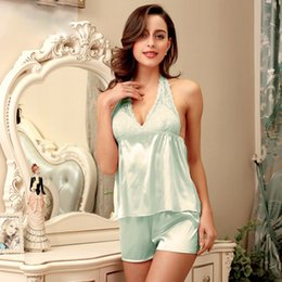 8a76e30697 Sexy Silk Nightdress Ladies Skirt Shorts Pajamas Set Thin Ice Silk Tracksuit