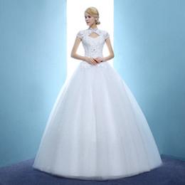 Ankle Length High Neck Wedding Dresses UK - Custom Made Size Vintage Wedding Dresses 2018 High Neck Princess Wedding Ball Gown Bridal Dress Vestiedo De Casamento