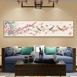 $enCountryForm.capitalKeyWord Canada - Full Diamond Painting Magpie In Plum Blossom Flowers Diy Diamond Embroidery Chinese Traditional Picture For Home Gift For Family