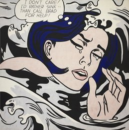 Girls Figure Size Australia - Roy Lichtenstein Drowning Girl Handpainted & HD Printed Abstract Art oil painting,Wall Art Home Decor On High Quality Canvas Multi Size ry05