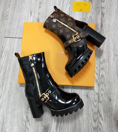 Wholesale Branded Women Glazed Leather Star Trail Ankle Boots Designer Lady Side Zip Chunky Heel Rubber Outsole Ultra wearable Ankle Boots STAR TRAIL