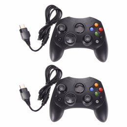 China 2Pcs Lot Fashion Black Wired Gaming Controller Game Pad Joystick for Microsoft XBOX S System Type 2 Gamepad With 1.47m Cables Controllers suppliers