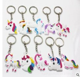 New Unicorn keychains mini car rainbow keyring cute bag accessories animal  souvenir birthday party wedding gifts many colors 5c3483e90d0b