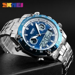 Sports Watches Waterproof Wristwatches Luxury Digital Canada - SKMEI Sports Watches Men Fashion Waterproof LED Electronic Luxury Watch Shock Stainless Steel Dual Display LED Wristwatches 1204