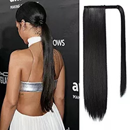 "wrap around pony tail NZ - 22"" Straight Sleek Wrapped Around brazilian virgin hair drawstring Ponytail hairpiece for Women clip in human Hair pony tail Extension 120g-"