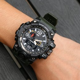 Discount blue water sports - Sports Watches Luxury brand men watch Business Casual Fashion Waterproof digital electronic Multifunction Quartz Rubber