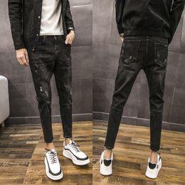 $enCountryForm.capitalKeyWord Canada - Biker Jeans Men 2018 Autumn New Washed Retro Black Fashion Slim Casual Pencil Pants Trend Street Hip Hop Hole Trousers