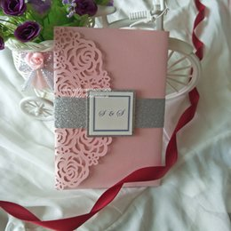 Dinner Cards NZ - Luxury Blush Pink Trifold Pocket Wedding Invites with Glitter Band and Tag 2019 Shimmy Dinner Birthday Party Invitations with RSVP Card