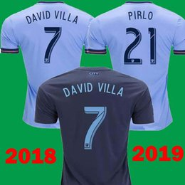 e17406deb DHL Ship Thailand 2018 2019 New York City Home Blue 21 PIRLO Soccer Jerseys  18 19 Away Black 7 David Villa 15 MCNAMARA Football Shirts