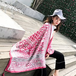 bohemian cotton shawl scarf NZ - Fashion Women National Shawl Scarf Bohemian Style Beach Towel Outdoor Travel Sunscreen Scarves For Spring Fall 14 5kx ff