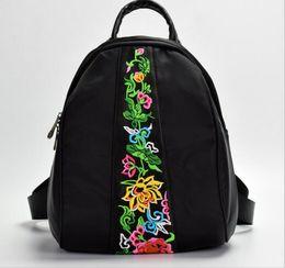 Multi Function Handbag Backpack NZ - Women Ladies Backpack Shoulder Bags School Handbag Messenger Bags National wind embroidered Oxford nylon multi-function Rucksack