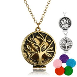 tree pendant for men 2019 - New Tree of life Aromatherapy Necklace Open Essential Oil Diffuser floating Locket Pendant For women Men s Fashion Jewel