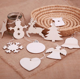 Wooden tree decorations online shopping - 10PCS SET Christmas decoration wood chip Christmas tree ornaments hanging DIY pendant Xmas home party decor Xmas gift crafts
