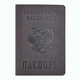 Design Genuine Leather NZ - 100% Genuine Crazy Horse Leather Passport Cover Designed For Russian Federation Business Card Holder Bilingual Passport Case