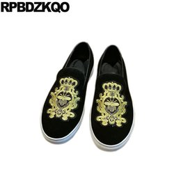 a5e5a8d11b9 Men Loafers Luxury Brand Runway Famous Shoes Printed Skate Real Leather  Flats Embroidery Bee New Soft Soled Black Suede Sneakers