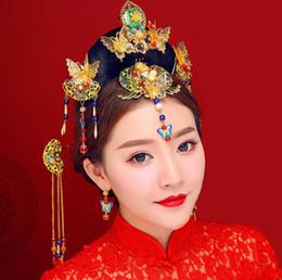 $enCountryForm.capitalKeyWord NZ - Chinese brides, ancient costumes, headwear, hair, red, gold, dragon, Phoenix, gown, Xiu and Qipao wedding dress.