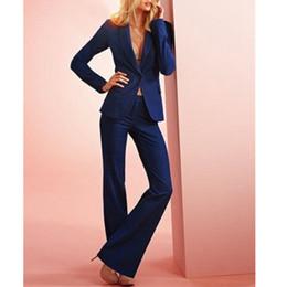 Dark Blue Suits Australia - Customized dark blue single buckle women's suit women's business suit two-piece suit (jacket + pants ) fashion slim simple women's clothing