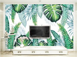 China Custom Photo Wall Paper Modern Simple 3D Tropical Plant Leaves Mural Wallpaper Living Room Restaurant Backdrop Wall Painting 3 D supplier photos house plants suppliers
