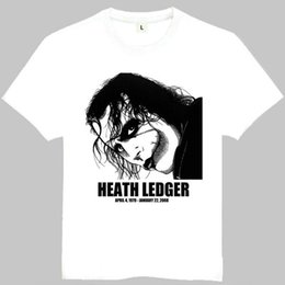 White Cotton Gowns Australia - Heath Andrew Ledger t shirt Clown short sleeve gown Actor tees Leisure gray white clothing Quality cotton Tshirt